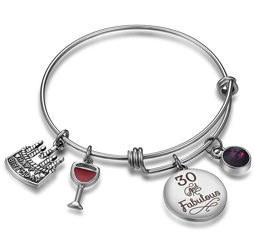 Amazon NBE Collection Birthday Gifts For Her Expandable Bangle Bracelet W Birthstone Charm Women Girls Best Friend 30th February Jewelry