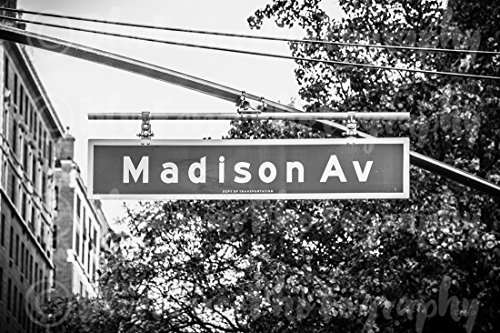 (Madison Avenue Street Sign, Home, Wall Decor, New York City, Black and White. Sizes Available from 5x7 to 20x30.)