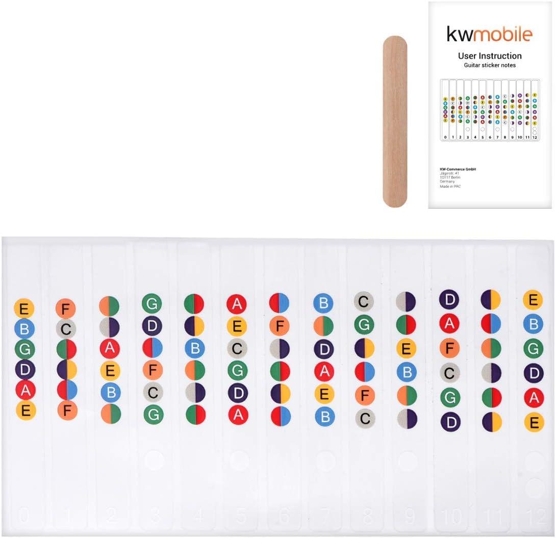 kwmobile Adhesivos para aprender a tocar la guitarra - Pegatinas para aprendizaje de guitarra acústica y eléctrica - Para el diapasón transparentes