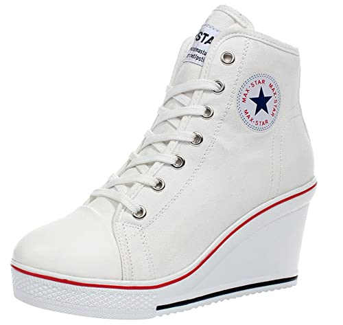 wealsex Sneaker Donna Zeppa Alte Donna Scarpe Lato Zip 8 CM Allacciate  Donna Tela Scarpe da d6c265acece