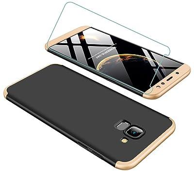 Funda Samsung A6 2018 360 Grados Oro Negro Ultra Delgado Todo Incluido Caja del teléfono de la Protección 3 en 1 Case+Protectora de Película de Vidrio Templado para JOYTAG-Oro Negro