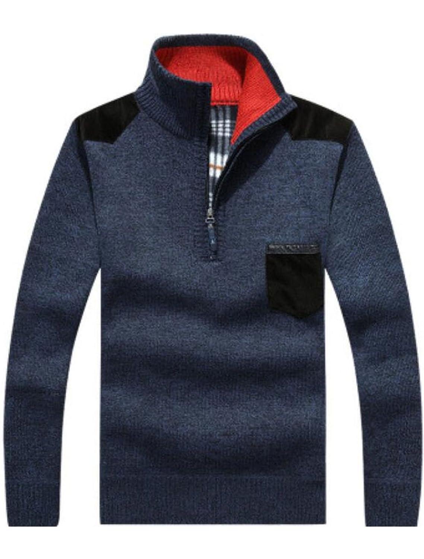 Vogstyle Men's New Cashmere Sweater Half Zip Jumper