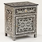 Bone Inlay Floral Bedside Handmade Inlay Wholesale Furniture