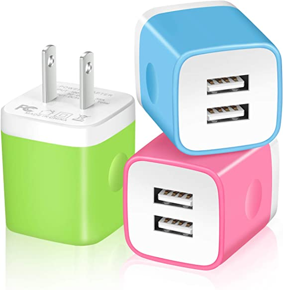 3-Pack 2.1 Dual Port USB Cube Power Adapter Wall Charger Plug Charging Block Compatible with iPhone 11 Pro//11//11 Pro Max//XS//XR//8//7//6 Plus iPad Moto Android LG Samsung X-EDITION USB Wall Charger
