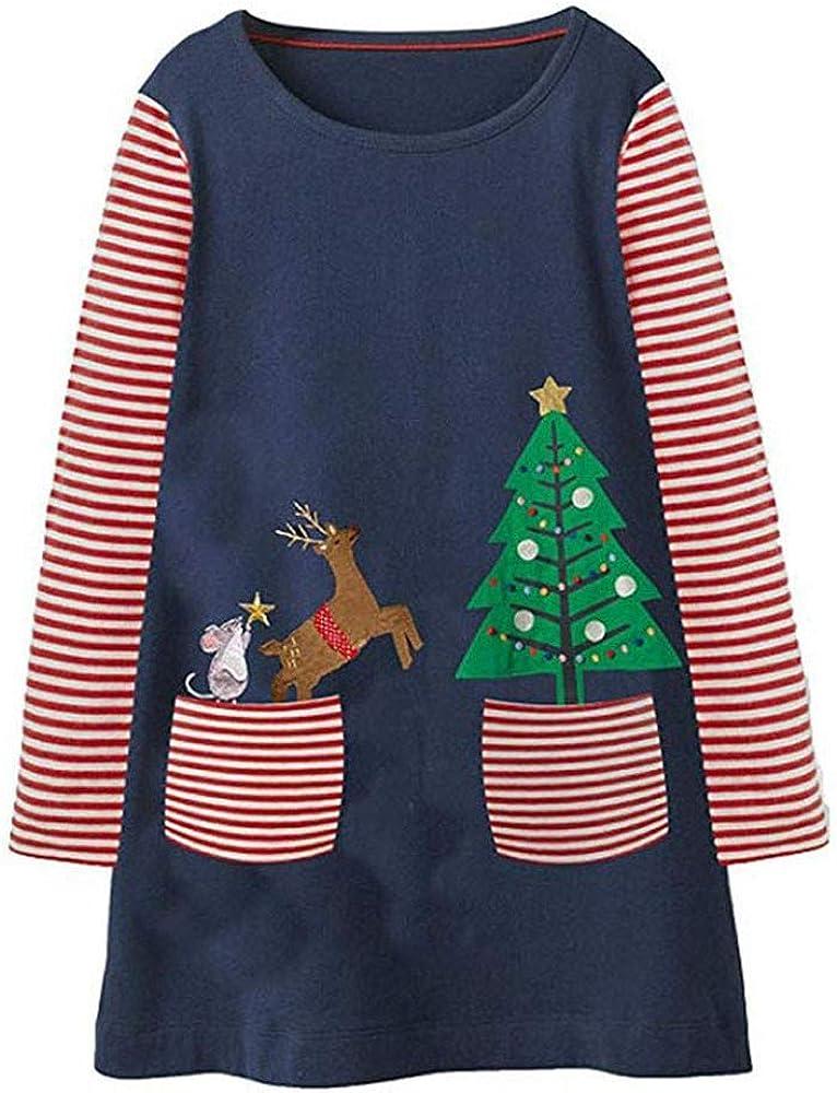 kaiCran Kids Girls Cotton Long Sleeve Casual Cartoon Christmas Striped Dress Size 1-7 Years