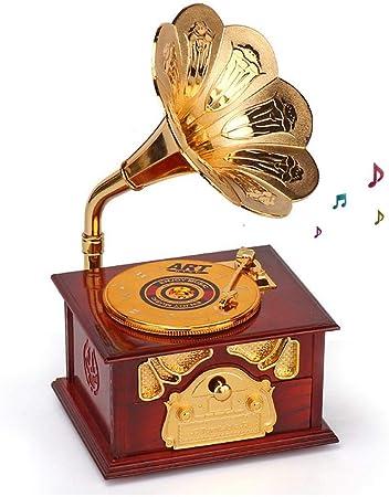 MOGOI Caja de música de gramófono Vintage, Creativa, Retro, para Manualidades, hogar, Oficina, Sala de Estudio, decoración: Amazon.es: Hogar