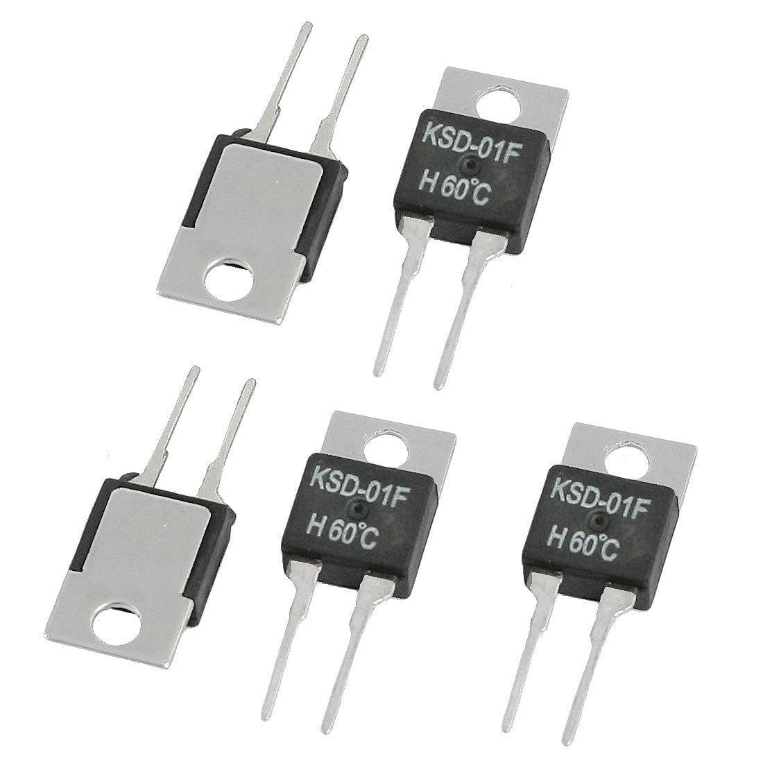 uxcell 5 x KSD-01F Temperature Controller Thermostat 60 Celsius NO 250VAC/ 24VDC 1.5A TRTAXCEEGF8859