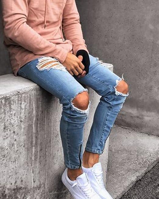 ShiFan Herren Denim Hose Jeanshosen Zerrissene Stretch Jeans Mit  Reißverschluss Am Knöchel Hellblau 3XL  Amazon.de  Bekleidung aa2710119d