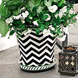 Boutique Black White Green Geometric Chevron Stripe Handpainted Round Planter Patio Pot
