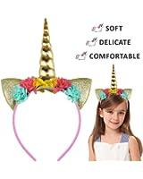 Halloween Unicorn Horn Ears Headband - Rainbow with Flowers Headpiece Cosplay Costume Accessory