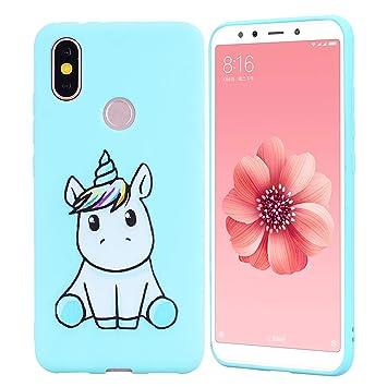 HopMore Funda Xiaomi Mi A2 Silicona Motivo Unicornio Animal Divertidas Carcasa Xiaomi Redmi A2 / 6X Ultrafina Slim Case Antigolpes Caso Protección ...