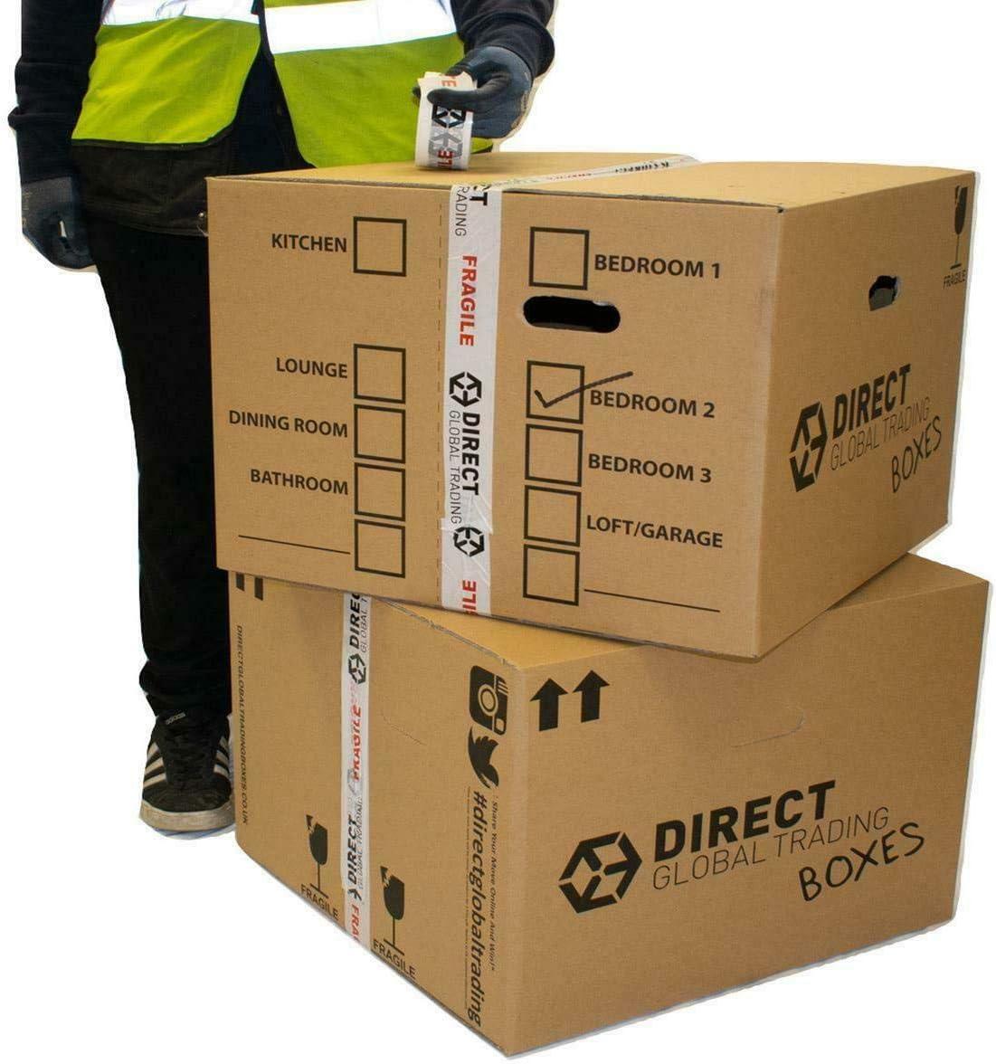 10 cajas de embalaje para mudanza extra grande y fuertes, de cartón doble capa, con asas de transporte y lista de habitación. 60 cm x 45 cm x 40: Amazon.es: Bricolaje y herramientas