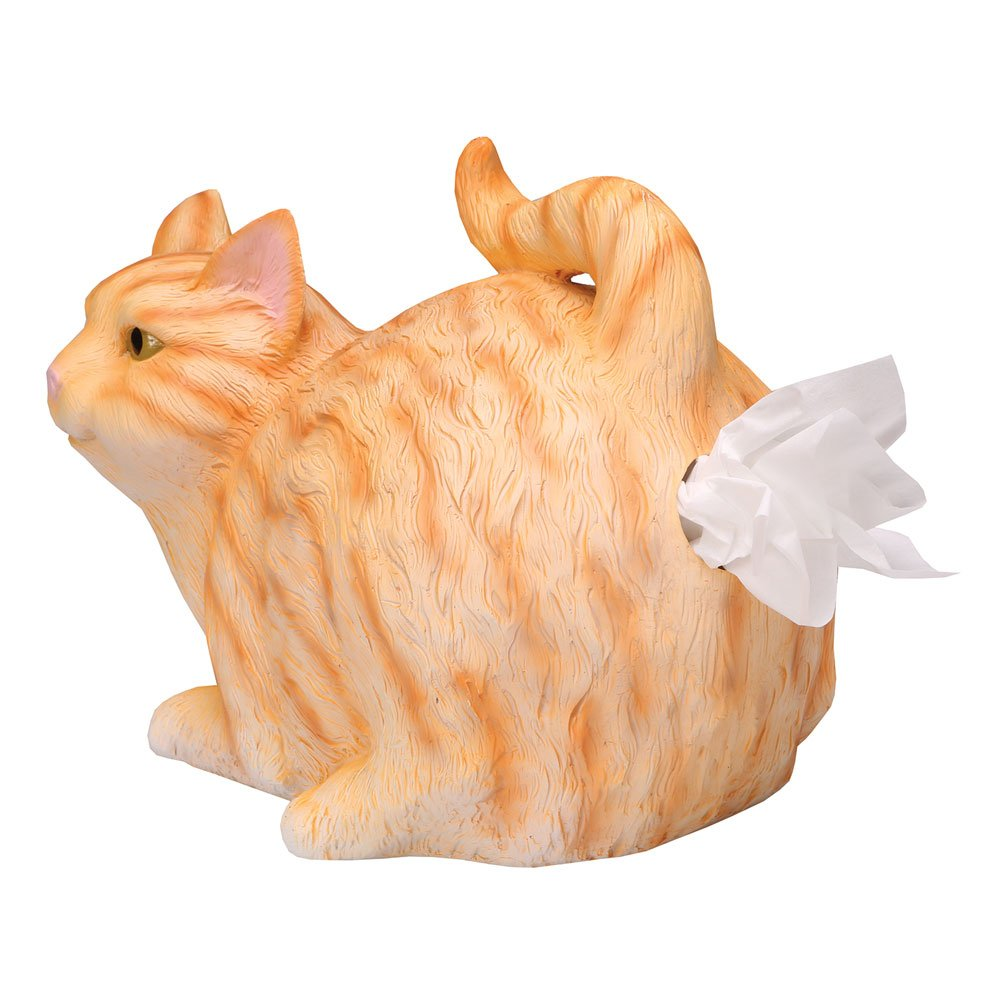 WHAT ON EARTH Cat Butt Tissue Holder - Orange Tabby Cat - Fits Square Tissue Box - Resin by WHAT ON EARTH