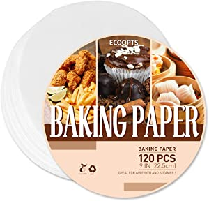 120 PCS 9 IN Round Parchment Paper Non Stick Baking Paper for Springform Pan, Toaster Oven, Microwave