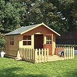 BillyOh 6x7 Lollipop Max Children Wooden Playhouse Outdoor - Premium with Platform and 4ft Picket Fence