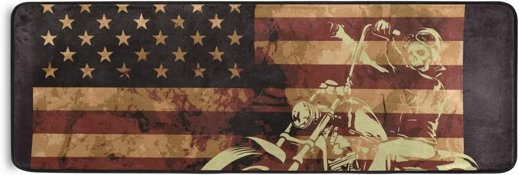 Soft Long Rug 24×72 Inches Non-Slip American Flag Skull Floor Mat for Hallway Living Room Bedroom Kitchen Home Decoration Print Rug