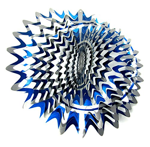 WorldaWhirl Whirligig 3D Wind Spinner Hand Painted Stainless Steel Twister Star (12