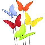 """SUNPLAY Sonnenfänger """"Schmetterlinge Maddy"""" im FARBMIX, 5 Stück zu je 10 cm Durchmesser im Set + 35 cm Schwingstäbe"""
