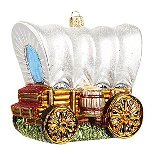Pinnacle Peak Trading Company Western Covered Wagon Stagecoach Polish Glass Christmas Tree Ornament Decoration