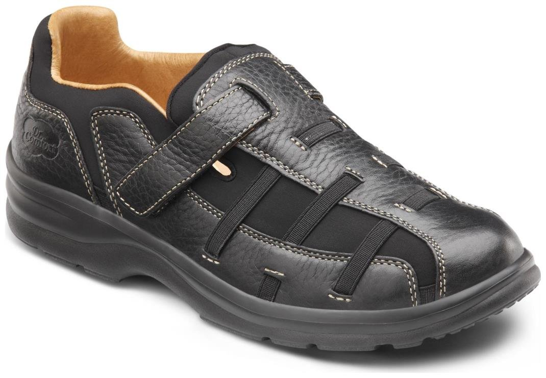 Dr. Comfort Betty Women's Therapeutic Diabetic Extra Depth Sandal: Black 10 Medium (A-B) Velcro