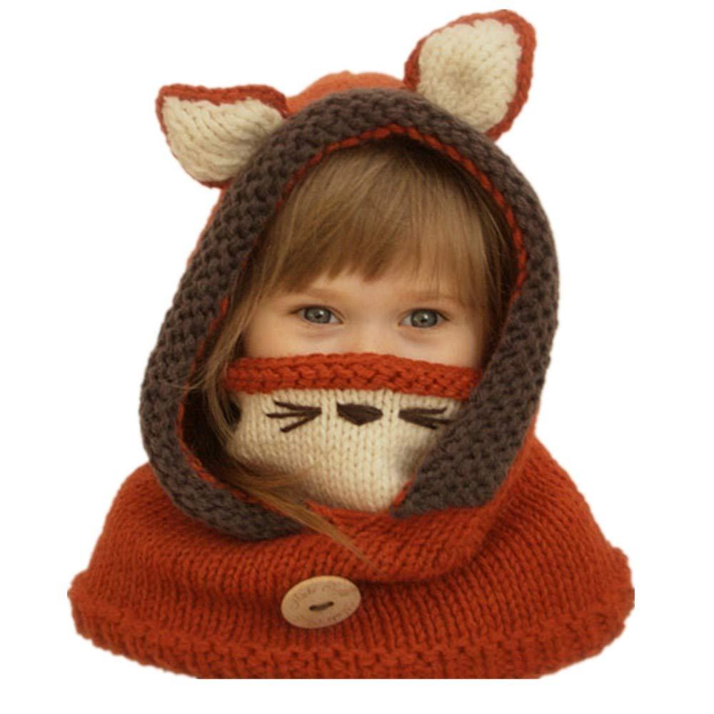 Freesiom Bonnet Echarpe Set Hiver Cagoule Renard Unisexe Bebe Enfant Garcon  Fille Mignon Kawaii Chaud Tricote b689fd3e37f