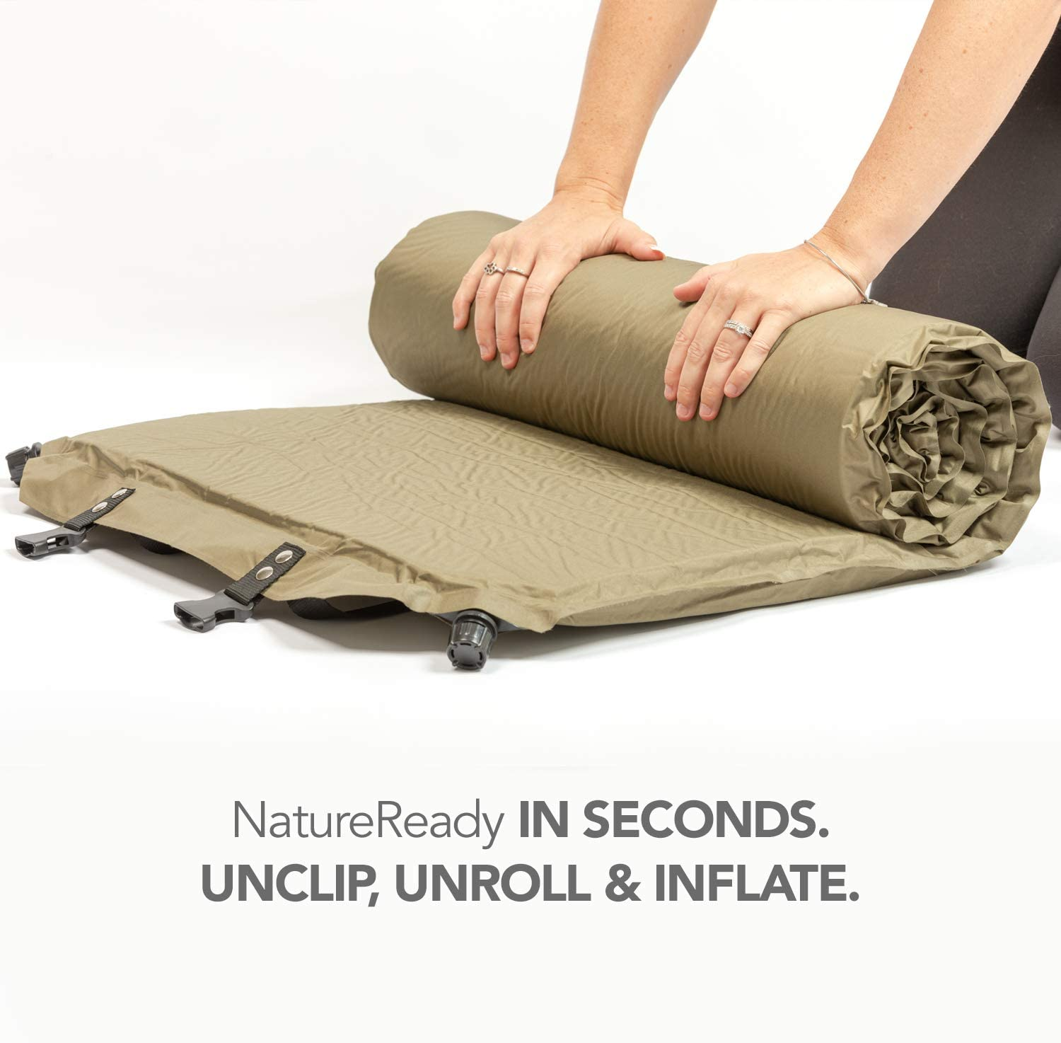 Better Habitat NatureReady Sleeping Pad. [Single 75x24x2]. Lightweight Portable Self-Inflating Camping Mat, Roll Out, with Waterproof Cover, Travel Bag