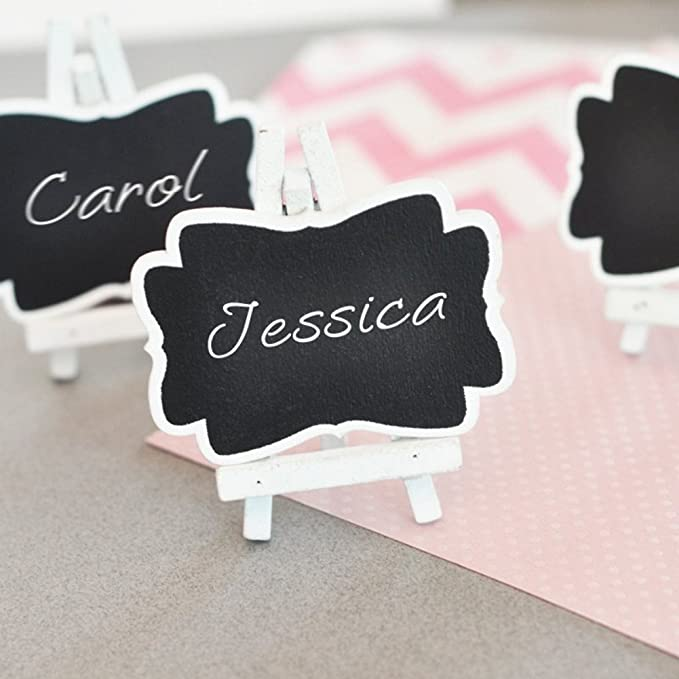 YeahiBaby Mini Chalkboard with Place Card Holder for Birthday and Wedding Pack of 4