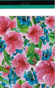 """10x13 ( 100 ) Pink Tropical Flowers Poly Mailers Shipping Envelopes Boutique Custom Bags 10"""" x 13"""" By ValueMailers"""