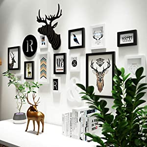 ZXW Deer Head Solid Wood Photo Wall, Nordic Combination Photo Frame Decoration Painting Can Change Photos, 13 Photo Frames & 3 Kinds of Accessories-Black+White