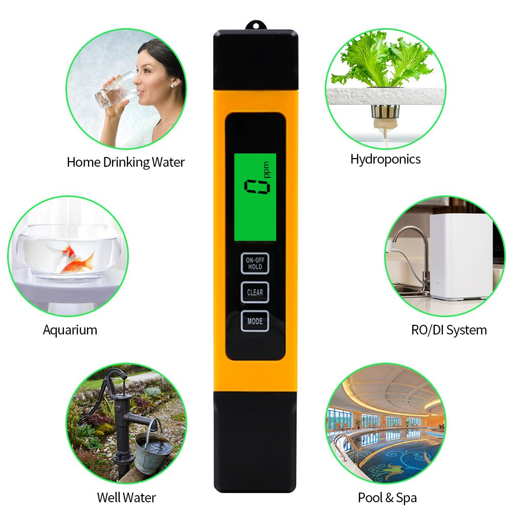 Water Quality Tester, Accurate and Reliable Portable Water Analyzer with TDS Meter, EC Meter & Temperature Meter 3 in 1 for Drinking Water,Swimming Pools,Aquariums