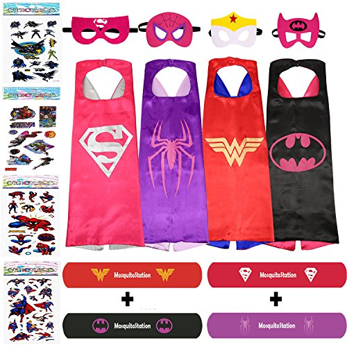 Superhero Dress Up Costumes For Girls - 4 Satin Capes, 4 Felt Masks,4 Stickers +4 special bracelets by (Buy Superhero Costume)