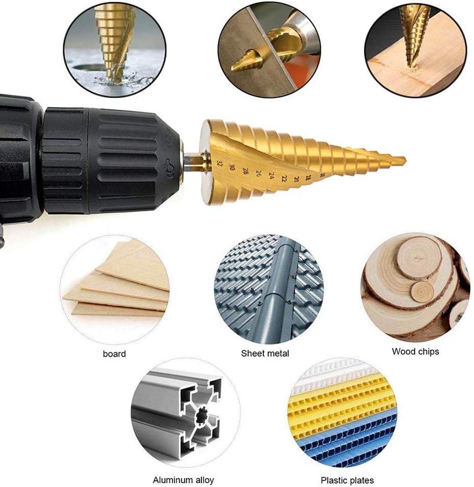 HSS Steel Titanium Step Drill Bits Cone Cut Tools Spiral Grooved Center Woodworking Wood Metal Drill Bit Set 4-12/20/32mm (Color : Set 1) 4 12 Black