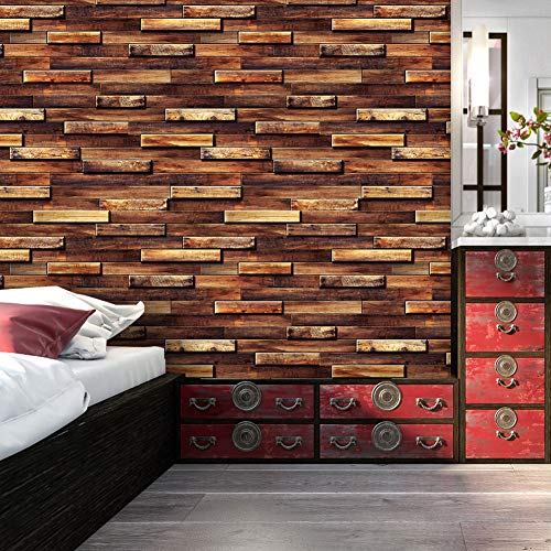 9033 Wood Brick Wallpaper roll, Brown/Black-Gray/Yellow Multi-Wood Block Stack Wallpaper Bedroom Living Room Kitchen Hotel Wall Decoration 20.8in × 32.8ft
