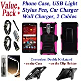 Value Pack + for 5.5'' ZTE Blade Spark ZMAX ONE Grand X4 Case Phone Case Belt Clip Holster Double Kick Stands Hybrid Biking Bumper Cover (Pink)