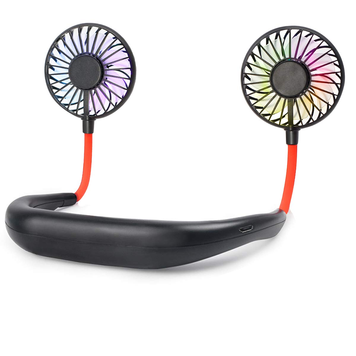 biukpci Mini Hand Free Personal Fan USB Rechargeable Desk Fan with 2500mA Battery Capacity 3 Adjustable Speed Headphone Design Wearable Neckband Fan for Travel Office Room Outdoor Household - Black