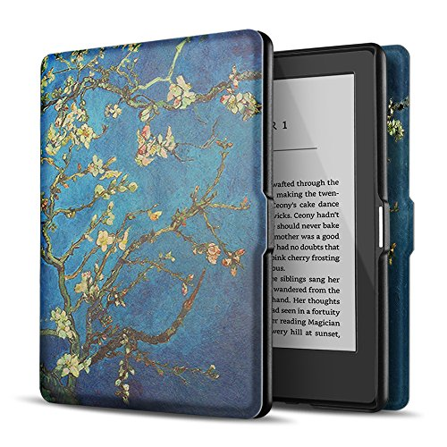 TNP Case for Kindle Paperwhite - Slim & Light Smart Cover Case with Auto Sleep & Wake for All-New Amazon Kindle Paperwhite Fits All 2012, 2013, 2015 and 2016 Versions (Almond Blossom - Van Gogh)