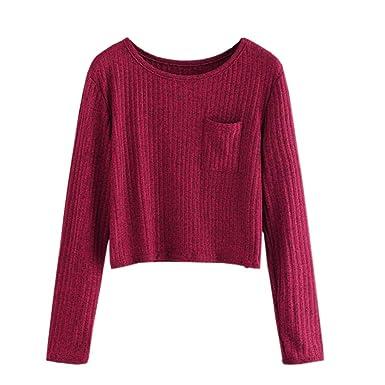 Simayixx Sweatshirts for Women Women Sexy Crop Tops Solid Knit Blouse Long  Sleeve Cardigan Sweaters ( d9b8cd101