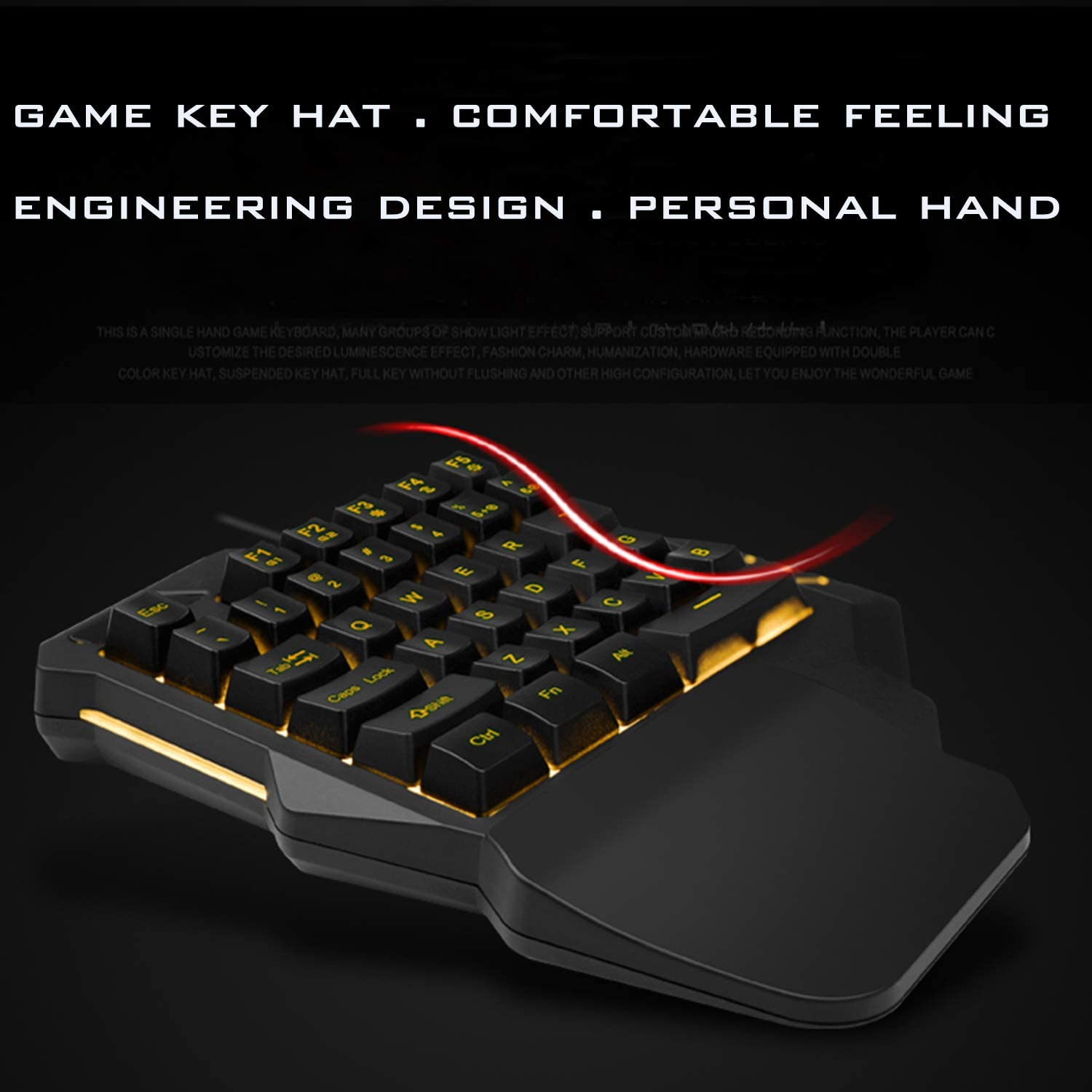 One Hand Gaming Keyboard Jancal RGB Backlit Wired Single Handed Keyboard with 35 Keys for PS4//Xbox//PC