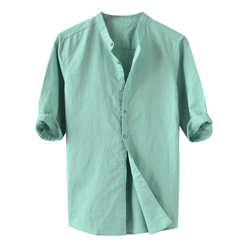 Bluecandy shirt Summer Men Breathable Solid Color Button Cotton Shirt Five Point Sleeve,Gn,M