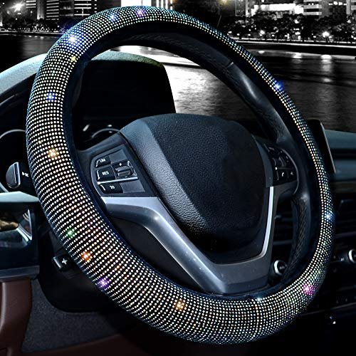 Valleycomfy Steering Wheel Cover for Women Bling Bling Crystal Diamond Sparkling Car SUV Wheel Protector Universal Fit 15 Inch (Black with Colorful Diamond)