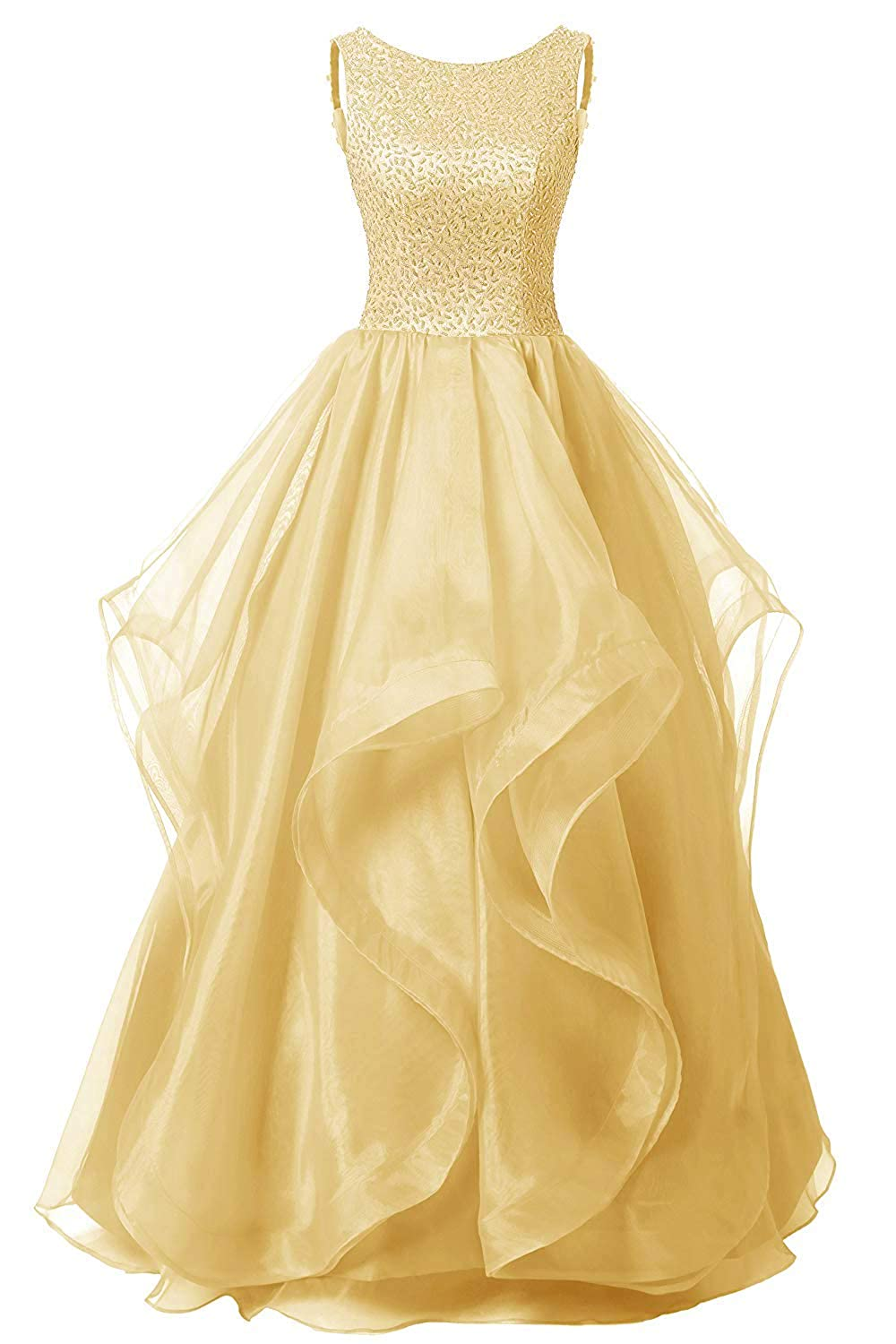 Yellow Uther Long Formal Evening Prom Dress Organza Bridesmaid Dresses Beaded Gown