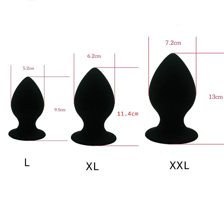 Play Women Toys 3pcs/lot Super Big Size Silicone Set Large Anale s Men Woman UniAnale Toy L XL XXL 3pcs Black Box Cat Tail by Likestory Party Games (Image #1)