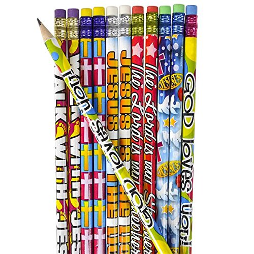 12 Dozen (144) RELIGIOUS Pencils - PENCILS #2 Lead - CLASSROOM Rewards TEACHER VBS Education JESUS GOD Loves Me VACATION BIBLE SCHOOL by JUST 4 FUN