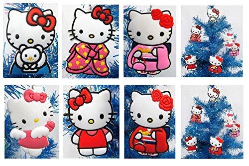 Hello Kitty Ornaments (Hello Kitty Holiday Christmas Ornament Set - Unique Shatterproof Plastic)