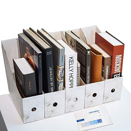 CAVEEN Revistero Archivador de la Oficina Cartón Caja de Almacenamiento con Cédula Organizador de Documentos Papelería