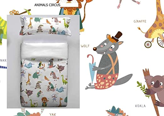 Don Algodon Kids.- Set de funda nordica y almohada Animal Circus ...