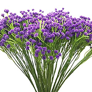 """Aisamco 2 Pack Artificial Baby's Breath 14 Forks, Fake Baby's Breath Bulk Flower Bush Artificial Gypsophila in White 15.7"""" Tall for Wedding Centerpiece Wreath Boutonniere 11"""
