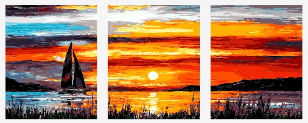 Wowdecor Paint by Numbers Kits for Adults Kids, Painting by Numbers 3 Pieces Pack - Beautiful Sunrise Scenery 16x20x3P inches (Framed)