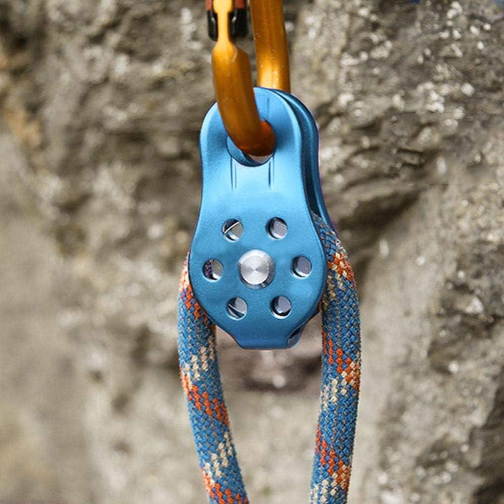 Alomejor Bloque Giratorio de la Rueda de la aleación de Aluminio de la polea de Escalada 26KN para el Rescate Que Sube de la Cuerda de 12m m
