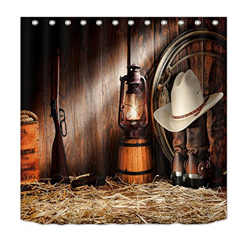 LB Western Theme Cowboy Shower Curtain Set Rodeo Cowboy Boots Hat Gun Lantern on Straw in Wooden Barn Shower Curtain 72x72 Inch Waterproof Fabric with Hooks -